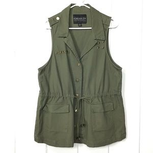 Forever 21 Navy Green Star Stud Drawstring Vest XL
